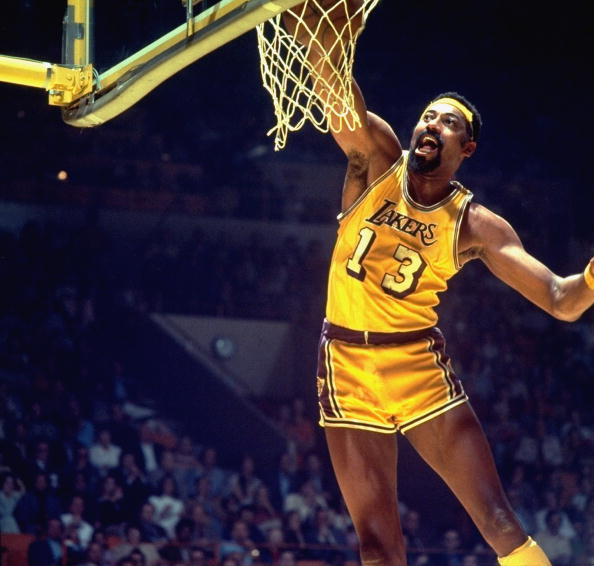 UNITED STATES - MAY 03: Basketball: finals, Los Angeles Lakers Wilt Chamberlain (13) in action, making dunk vs New York Knicks, Inglewood, CA 4/30/1973--5/3/1973 (Photo by George Long/Sports Illustrated/Getty Images) (SetNumber: X17671)
