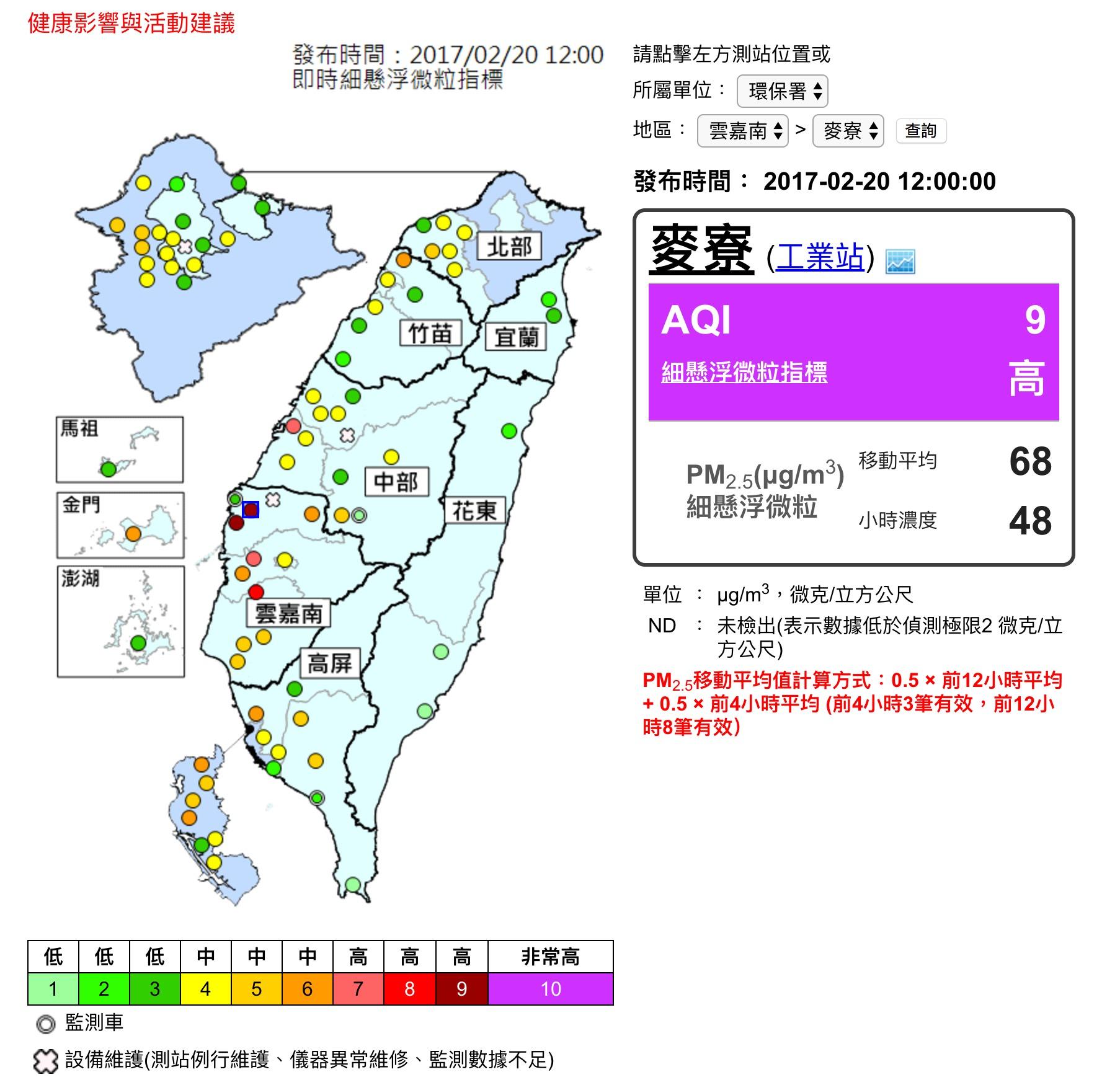 0220PM2.5濃度指標