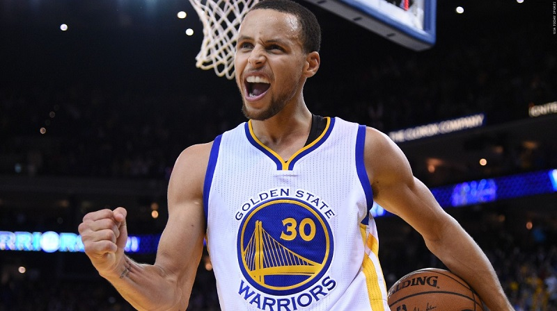 December 2, 2014; Oakland, CA, USA; Golden State Warriors guard Stephen Curry (30) celebrates after the game against the Orlando Magic at Oracle Arena. The Warriors defeated the Magic 98-97. Mandatory Credit: Kyle Terada-USA TODAY Sports